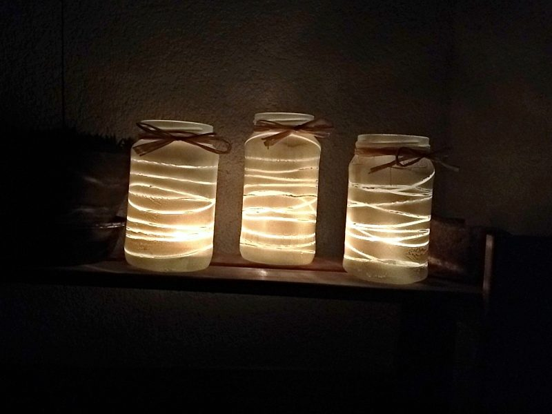 DIY, svícen, zavařovací, sklenice, výroba, jak vyrobit, rustikální, nápad