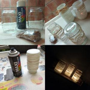 svícen, zavažovací, sklenice, zavařovačka, bílá, jak vyrobit, DIY