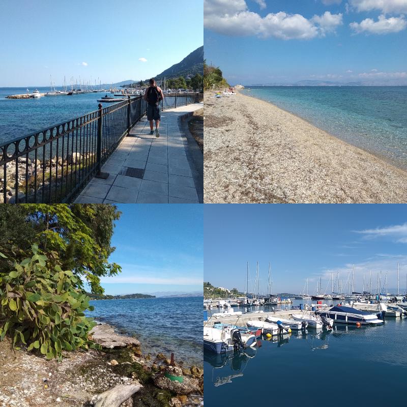 Korfu, Řecko, corfu, dovolená, low, cost, Benitses, vesnice,pláž