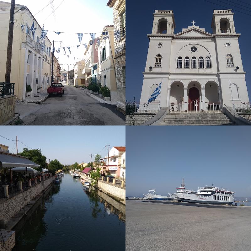 Korfu, Lefkimmi, přístav, město, řeka v Lefkimmi, loď, lodní, doprava