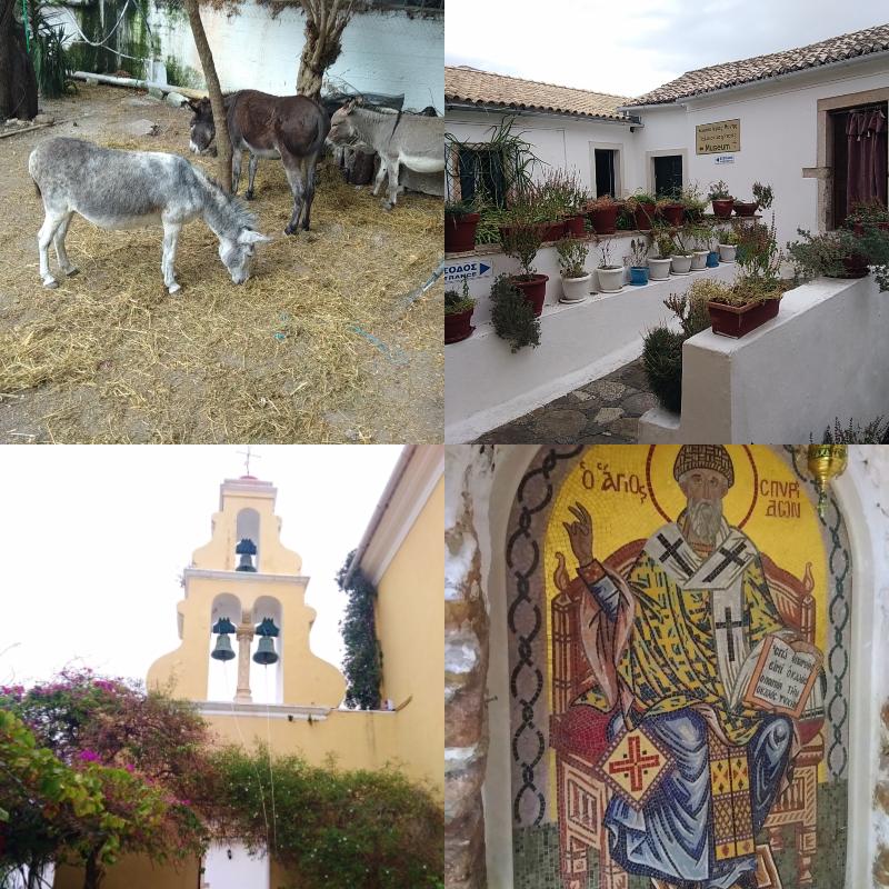 Paleokastritsa, klášter, výhled, vyhlídka, osel, zahrada