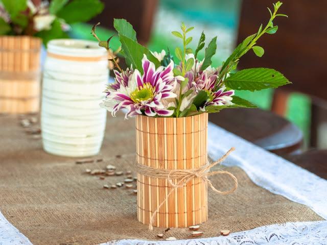 váza, rustikální, svatba,svatební, dekorace, květiny